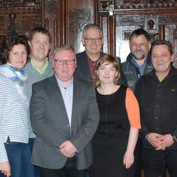 Vorstand der Partnerschaftsgesellschaft der Hansestadt Stendal e.V. (v.l. Dorina Zimmermann, Donald Lyko, Steffen Tank, Axel Achilles, Gesine Seidel, Rüdiger Hell und Frank Boden)
